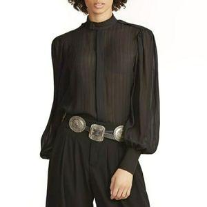 🆕️Polo Ralph Lauren Jacquard Stripe Silk Blouse